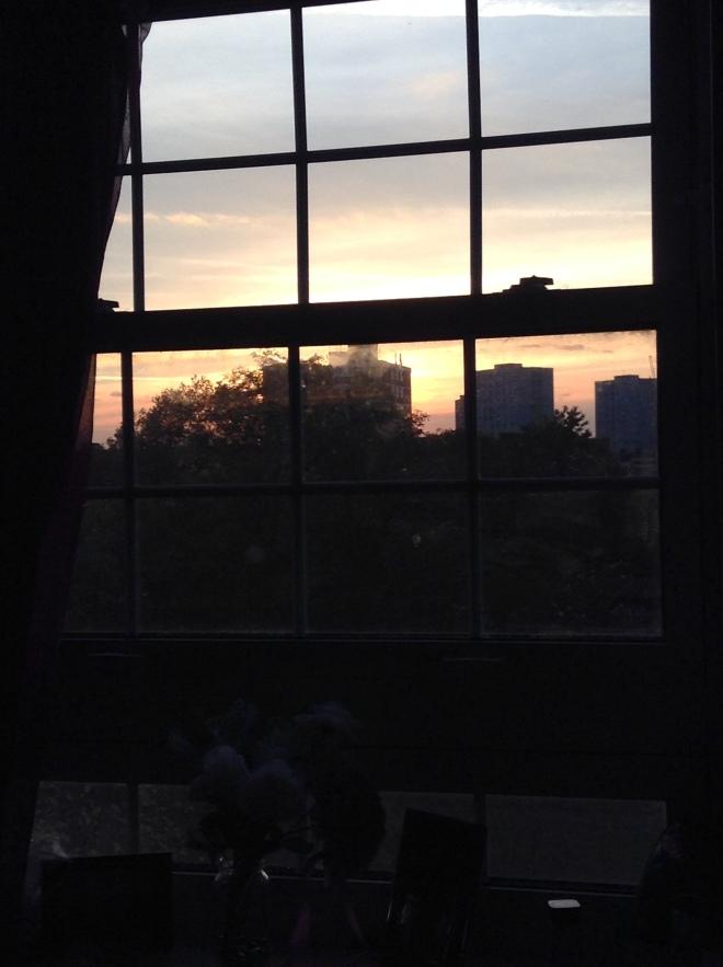 Sunrise through bedroom window