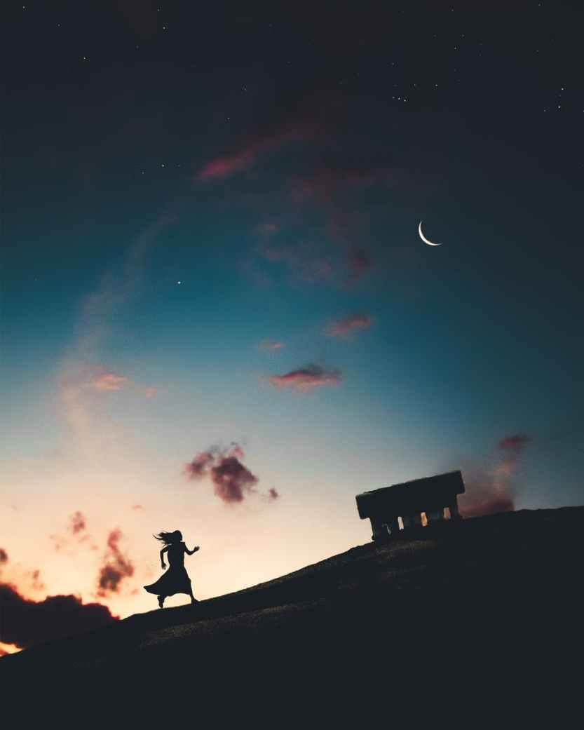 backlit clouds crescent moon dark